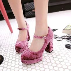 錦洋鞋業 - 瑪莉珍絲絨高跟鞋