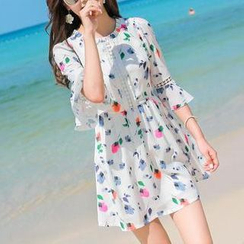 Hazie - Floral Print 3/4-Sleeve Chiffon Dress