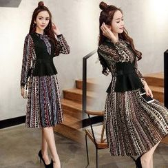 Romantica - Set: Printed Dress + Vest