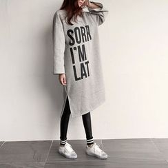 NIPONJJUYA - Lettering Brushed-Fleece Lined T-Shirt Dress