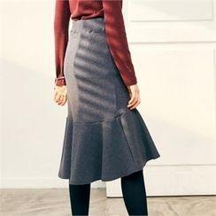 MAGJAY - Banded-Waist Ruffled-Hem Skirt