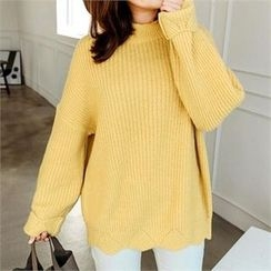 JOAMOM - Mock-Neck Drop-Shoulder Knit Top