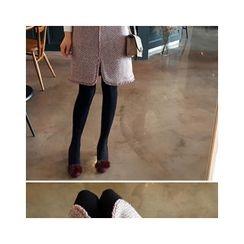 LEELIN - Slit-Front Frayed-Hem Skirt