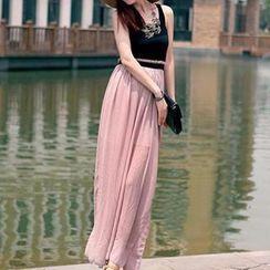 Dream a Dream - Sleeveless Two-Tone Chiffon Maxi Dress