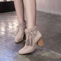 Monde - 吊苏粗跟及踝靴