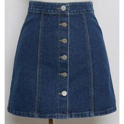 CosmoCorner - Buttoned A-Line Denim Skirt