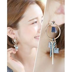 Miss21 Korea - Metallic Drop Earrings