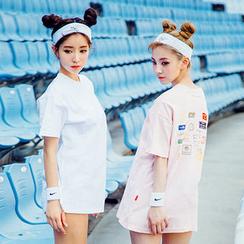 chuu - Printed Back Cotton T-Shirt