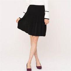 MAGJAY - Banded-Waist Pleated Skirt