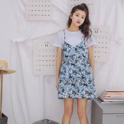 SUYISODA - Floral Print Strappy Dress