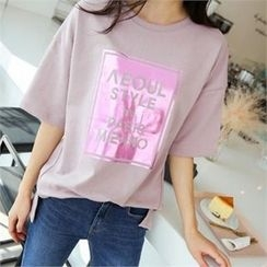 PINKSISLY - Round-Neck Lettering T-Shirt