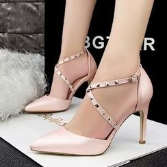 Mancienne - Studded Pointy High-Heel Sandals