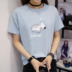 XGZ - Zebra Print Short-Sleeve T-Shirt