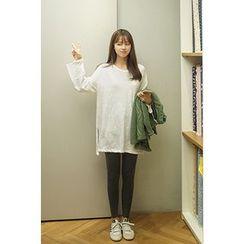 CHERRYKOKO - Slit-Side Long Cotton T-Shirt