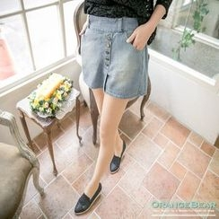 OrangeBear - Washed Button Denim Skirt