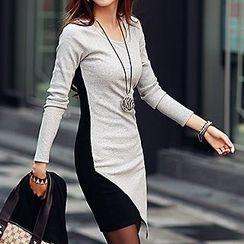 Ranee - Long-Sleeve Panel Sheath Dress