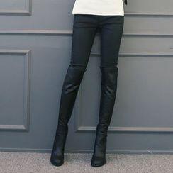 DANI LOVE - Brushed-Fleece Lined Coated Skinny Pants