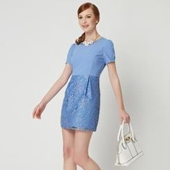 O.SA - Short-Sleeve Tulle-Panel Dress