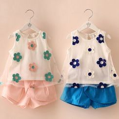 Seashells Kids - Kids Set: Floral Sleeveless Top + Shorts