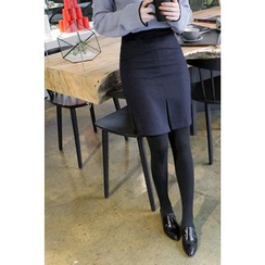 CHERRYKOKO - Slit-Hem Wool Blend A-Line Skirt