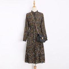 Katie Bloom - Floral Print Stand Collar Long Sleeve Chiffon Dress