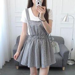 CYNTHIA - Gingham Suspender Skirt