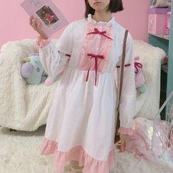 Moricode - 蝴蝶結裝飾邊A字連衣裙