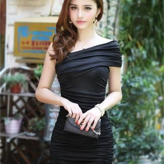 BEAUTY PLAN - Asymmetric-Shoulder Shirred Bodycon Dress