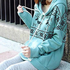 Tokyo Fashion - Nordic-Pattern Hooded Pullover