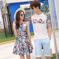 Tabula Rasa - Couple Matching Panel T-shirt / Printed Halter Dress