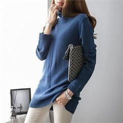 PIPPIN - Turtle-Neck Buttoned-Back Knit Top