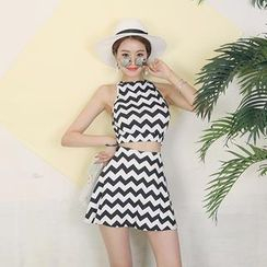 DABAGIRL - Set: Open-Back Chevron Top + A-Line Mini Skirt