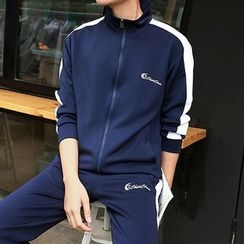 Danjieshi - Set: Color Block  Zip Jacket  + Sweatpants