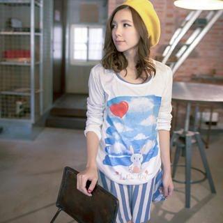 Lucky Leaf - Long-Sleeve Bunny-Print T-Shirt
