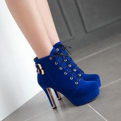 錦洋鞋業 - 厚底鞋跟結帶短靴