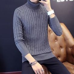 Recluso - Turtleneck Ribbed Knit Top