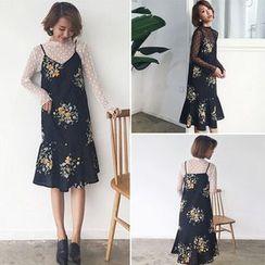 Clair Fashion - Set: Polka Dot Sheer Top + Floral Printed Dress