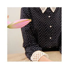 LEELIN - Eyelet-Lace Detail Pattern Blouse