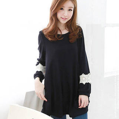 JVL - Long-Sleeve Lace-Trim A-Line Top