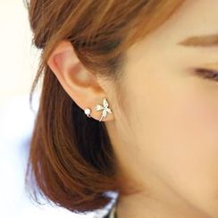 Sunsped - Rhinestone Butterfly Earrings / Clip-On Earrings
