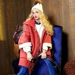 ELF SACK - Fringe-Trim Buttoned Coat