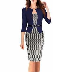 LIVA GIRL - 假兩件七分袖格紋塑身連衣裙
