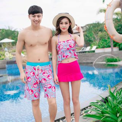 Roseate - Couple Matching Set: Print Swim Top + Skirt / Print Swim Shorts