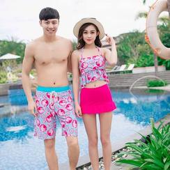 Roseate - 情侶套裝: 印花泳衣上衣 / 印花泳褲
