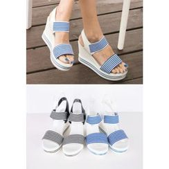 REDOPIN - Stripe-Detail Wedge-Heel Sandals