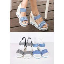 REDOPIN - Stripe-Detail Wedge-Heel Sandals