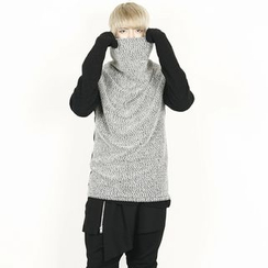 Rememberclick - Wool-Blend Turtle-Neck Color-Block Sweater