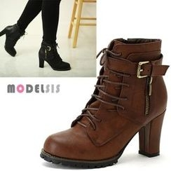 MODELSIS - Buckled Lace-Up Zip-Side Ankle Boots