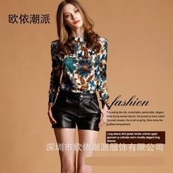 Ozipan - Long-Sleeve Printed Blouse