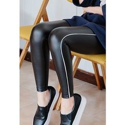 REDOPIN - Contrast-Trim Faux-Leather Leggings